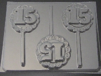 8508 Sweet 15 Lacy Round Chocolate or Hard Candy Lollipop Mold