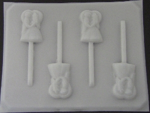 1006 Bride Groom Couple Heart Chocolate or Hard Candy Lollipop Mold