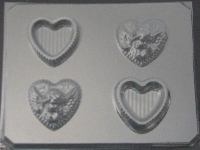 1012 Heart Pour Boxes Cherub Lid Chocolate Candy Mold